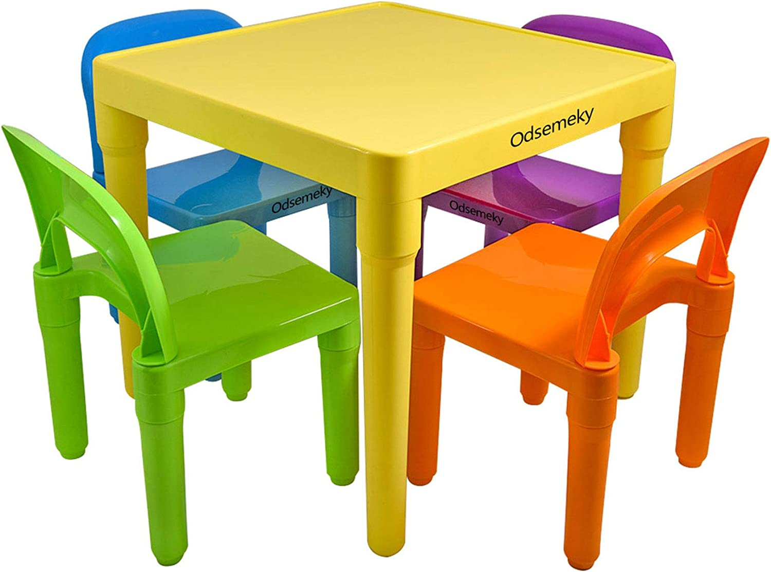 Odsemeky Kids Table and 4 Chairs Set, Colorful Study Play Arts Crafts Dining Patio Table for Toddler, Plastic Activity Furniture Set Gift for Baby Boys/Girls 3 Years Old and Up