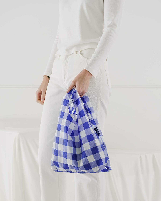 BAGGU Small Reusable Shopping Bag Ripstop Nylon Grocery Tote or Lunch Bag Big Check Blue