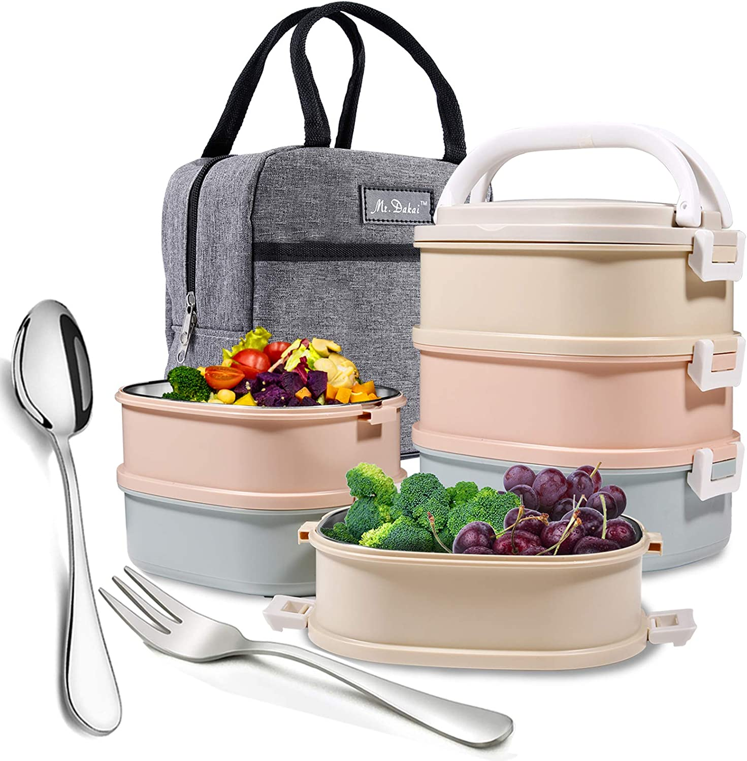 Mr.Dakai Stackable Bento Lunch Box, 3-Tier Compartment Thermal Stainless Steel Insulated Lunch Container with Lunch Bag & Fork Spoon, Leakproof Container for Office, Adults, Men Women - Square