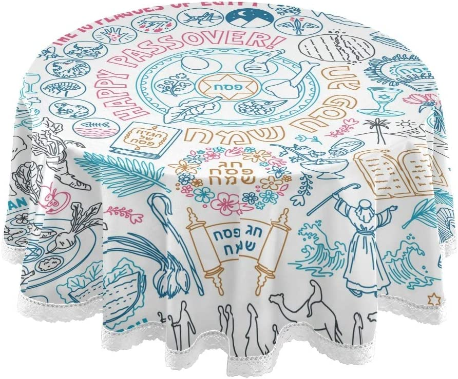 vvfelixl Passover Doodle Set Traditional Food Seder Plate Matzo Hebrew Round 60 Inch Table Cloth for Banquet Party Burlap Table Cloth for Holiday Festival Decorations Everyday Use