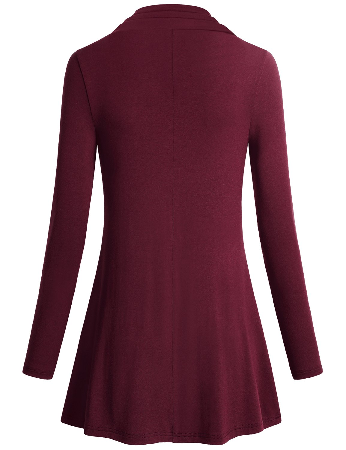 Miusey Womens Tunic Tops Ladies Long Sleeve Easy Fit Outdoor T Shirt Flowing Cowl Neck Button Décor Pullover Knit A Line Elastic Youth Blouses Pregnancy Plus Size Sweaters Wine XXXL by Miusey (Image #2)