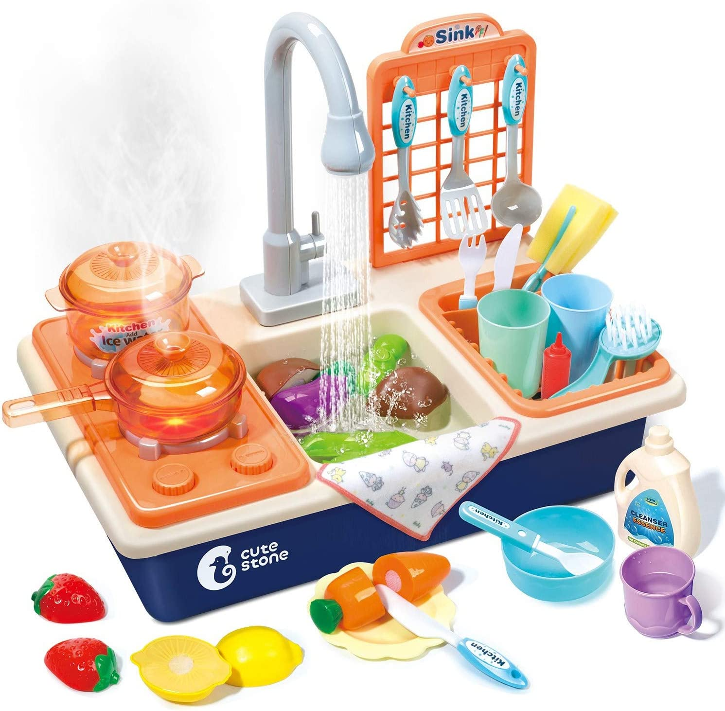 Kids Pretend Play Kitchen Sink Toys with Spray Light /&Sound Play Cooking Stove