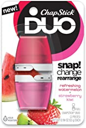ChapStick DUO Full Lip Balm, 8 Hour Moisture, 0.194 Ounce Each (Refreshing Watermelon & Strawberry Kiwi Flavors, 1 Blister Pack of 2 Pieces)
