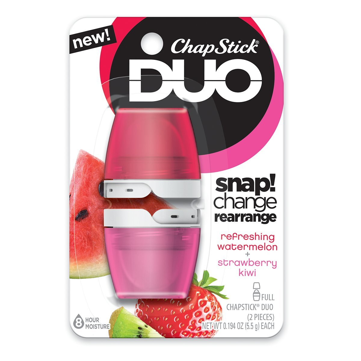 Amazon Com Chapstick Duo Kiwi Blister Card Watermelon Strawberry Kiwi   Ounce Health Personal Care