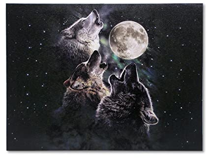 Tres Lobos Aullando Led Impresión De Lienzo 3 Lobos Aullando A La