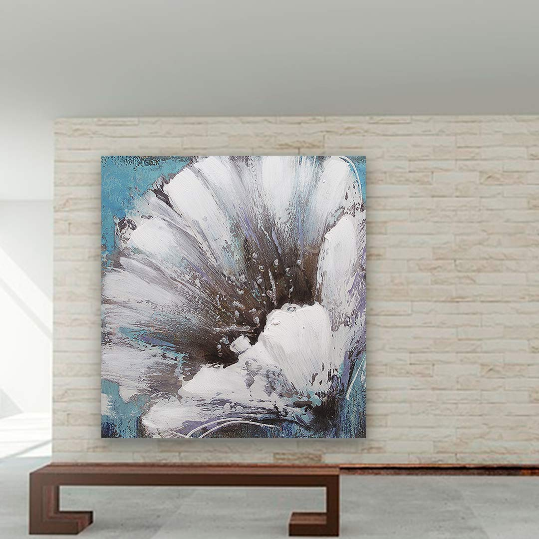 White Flower Oil Paintings on Canvas Wall Art Modern Decorative People Artwork Ready to Hang for Home Decoration Wall Decor