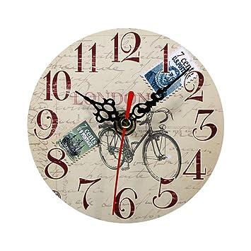 Relojes de Pared de Madera, 7 tipos de estilo Vintage relojes de pared de madera redonda oficina en casa decoración del dormitorio(#4): Amazon.es: Hogar