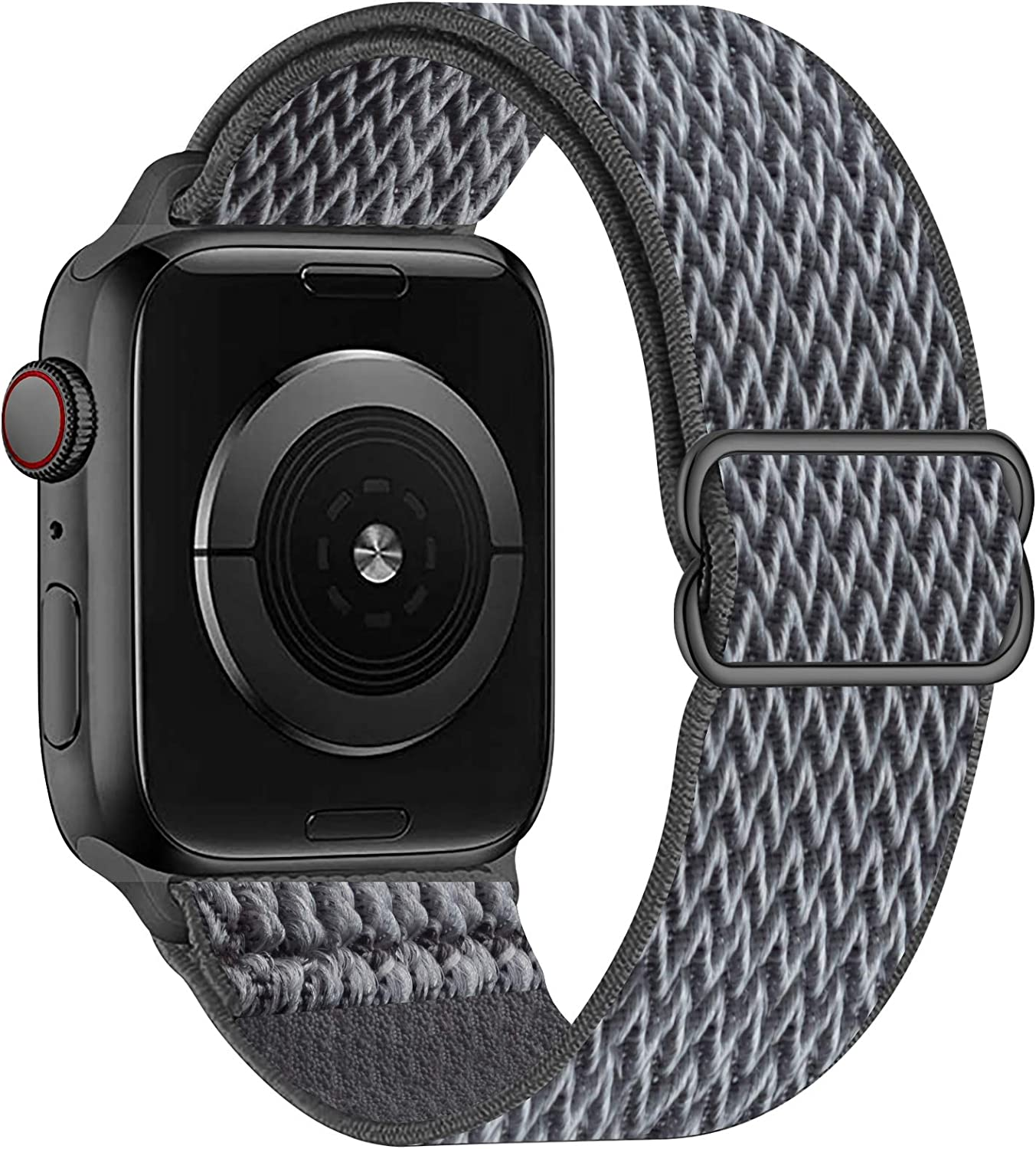 OHCBOOGIE Stretchy Solo Loop Strap Compatible with Apple Watch Bands 38mm 40mm 42mm 44mm ,Adjustable Stretch Braided Sport Elastics Weave Nylon Women Men Wristband Compatible with iWatch Series 6/5/4/3/2/1 SE,Storm Gray,42/44mm