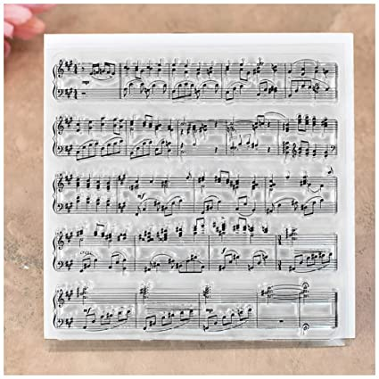 Kwan Crafts Musical Note Background Clear Stamps for Card Making Decoration and DIY Scrapbooking
