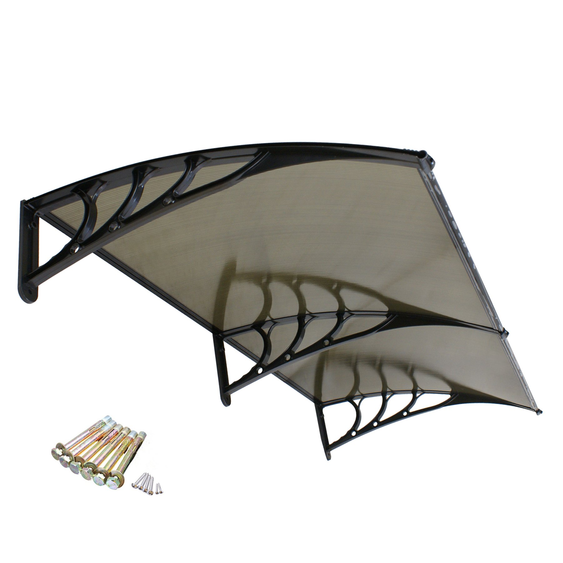 F2C 1mx2m DIY Outdoor Polycarbonate Garden Front Door 40''x 80'' Window Awning Patio Cover Canopy UV Rain Snow Protection (Yellow)