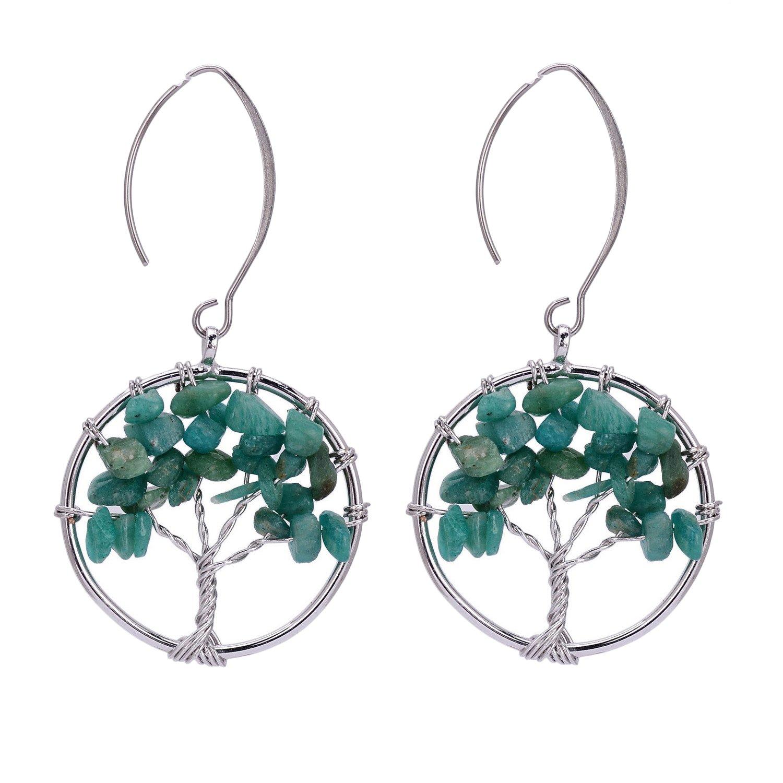 Tree of Life Dangle Earrings Chakra Jewelry Handmade Wire Wrapped Birthstone Earrings for Women