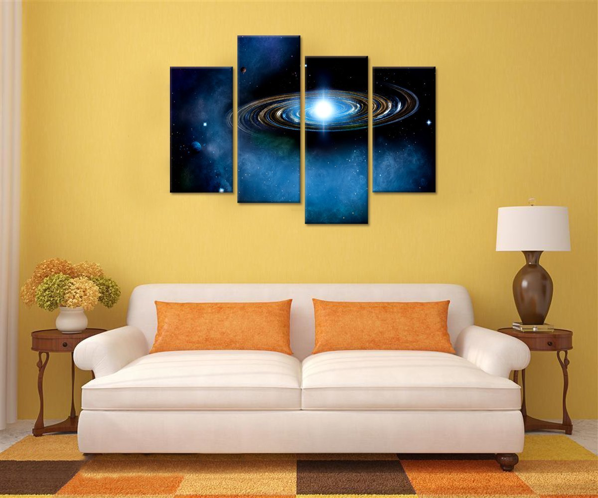 Amazon.com: Blue Starry Canvas Wall Art Prints for Living Room Outer ...