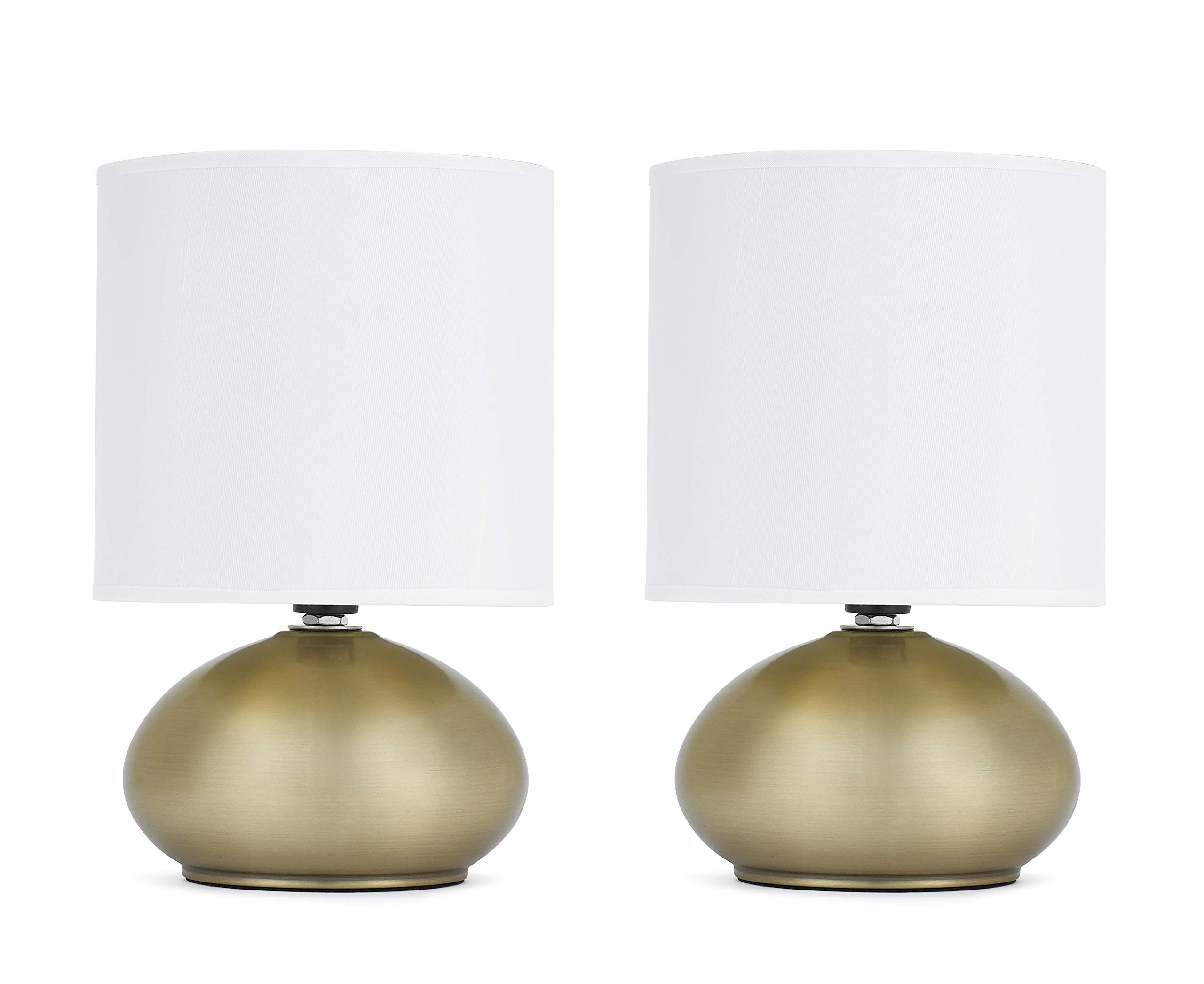 Catalina Lighting 18581-001 Caden 2-Pack Mini Metal Touch Accent Lamps with Linen Drum Shades, 6.0'' x 6.0'' x 9.25'', Brass