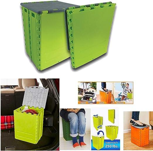 Taburete caja plegable almacenaje silla camping cajon escalera baul juguetes casa jardin pesca: Amazon.es: Hogar