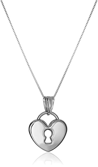 pendant white heart necklace jewelry gold com quot amazon dp lock