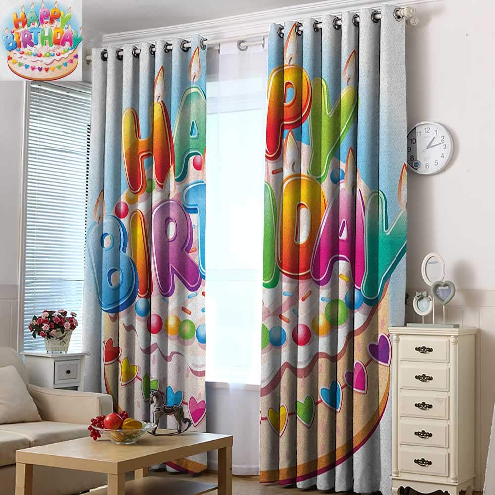 Acelik Kids Curtains Kids Birthday Cartoon Style Happy Birthday Party Image Cake Candles Hearts Design Print Great for Living Rooms & Bedrooms 84'' W x 108'' L Multicolor