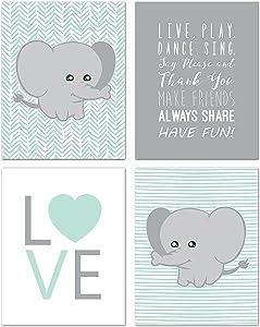 Children Inspire Design Elephant Nursery Decor, Wall Decor for Kids, Wall Art for Kids, Playroom Decor, Baby Decor, 11x14