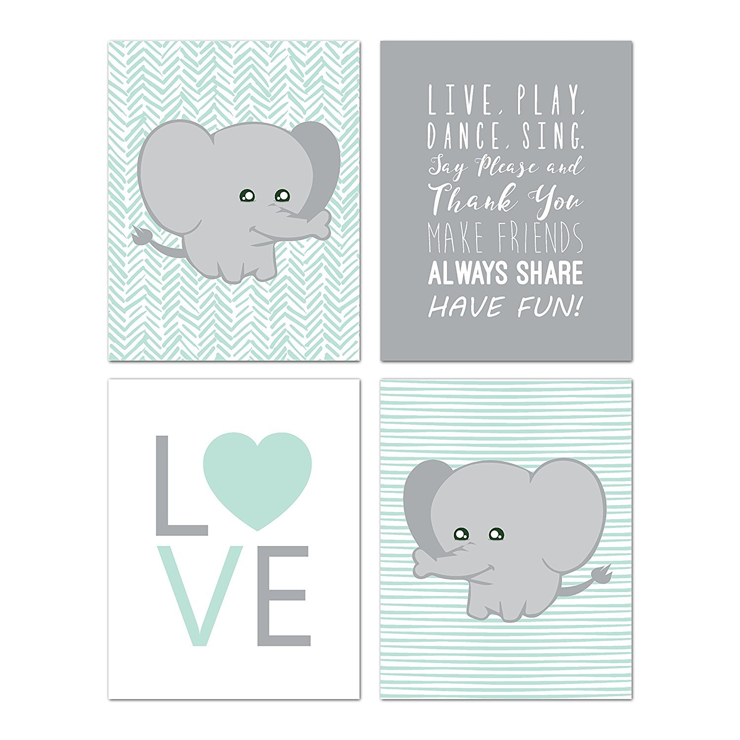 Elephant Nursery Decor, Wall Decor For Kids, Wall Art For Kids, Playroom Decor, Baby Decor, Baby Shower Gift, 08x10 Inch Print Children Inspire Design