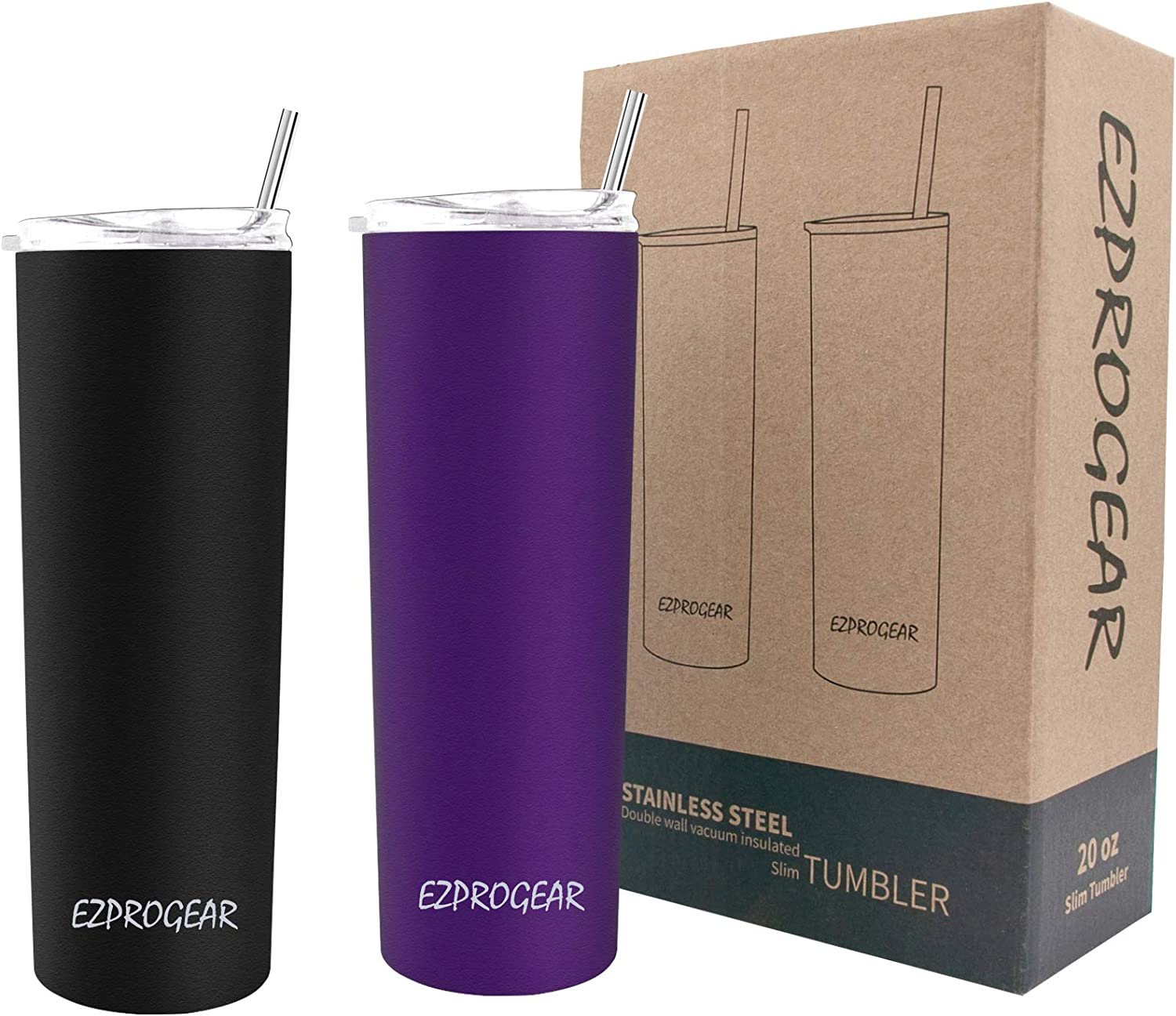 Ezprogear Stainless Steel Skinny Travel Tumbler Double Wall Vacuum Insulated with Straws (20 oz 2 Pack, Black/Grape Purple)