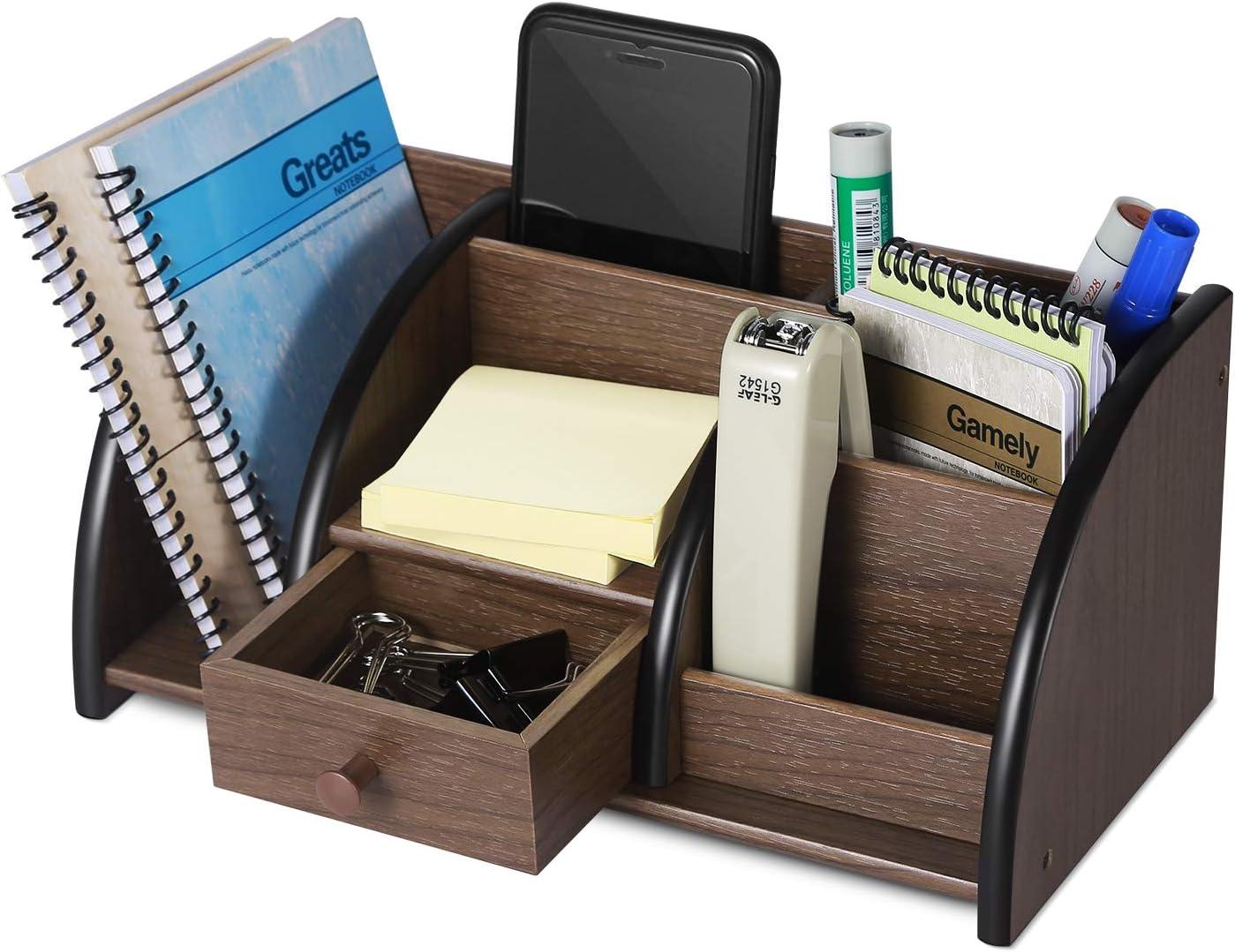 Classic Wood Office Supplies Accessories Desktop Tabletop Sorter Shelf Rack Cherry Brown Pencil Holder Caddy Set 6 Compartments Flexzion Wooden Desk Organizer w//Drawer /& Book End