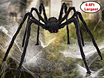 Aiduy Outdoor Halloween Decorations Scary Giant Spider Fake Large Spider Hairy Spider Props For Halloween Yard Decorations Party Decor Black 79 Inch