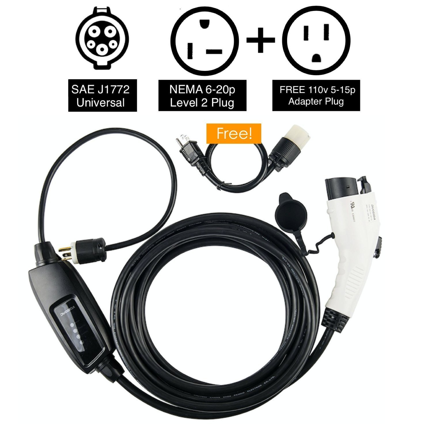 Duosida Level 2 Evse Portable Electric Vehicle Charger Plug Also 4 Wire Dryer Diagram Besides 220 Volt 20 Outlet Wiring 240v 16a Faster Charging Speeds Automotive