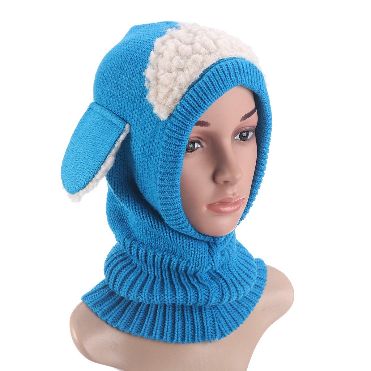 Blue Super Keep Warm Baby Girls Boys Winter Hat Scarf Earflap Hood Scarves