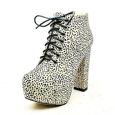 SendIt4Me White/Black Dalmatian Print Block Heel Ankle Boots OBRh4l3