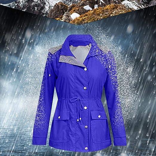 YEBIRAL Friesennerz Winter Damen Regenjacke Wasserdicht Regenmantel Winddichte Windbreaker Gestreift Futter Outdoorjacke Funktionsjacke Mit Kapuze