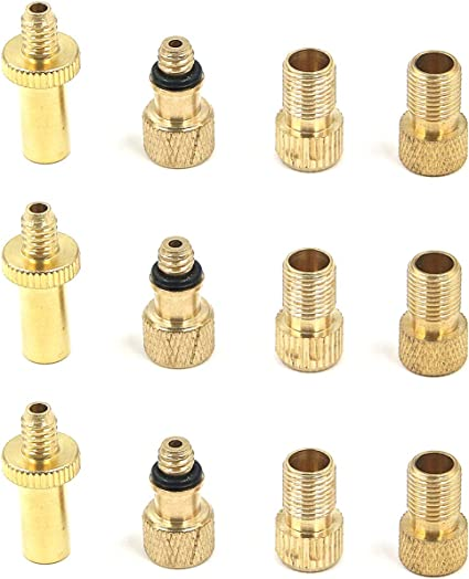 Bicycle Tire Valve Converter Copper Cycling Tire Tools for Road Bike Pump Accessories 8 Pieces Bike Presta Valve Adapter and 16 Pieces Schrader Valve Caps