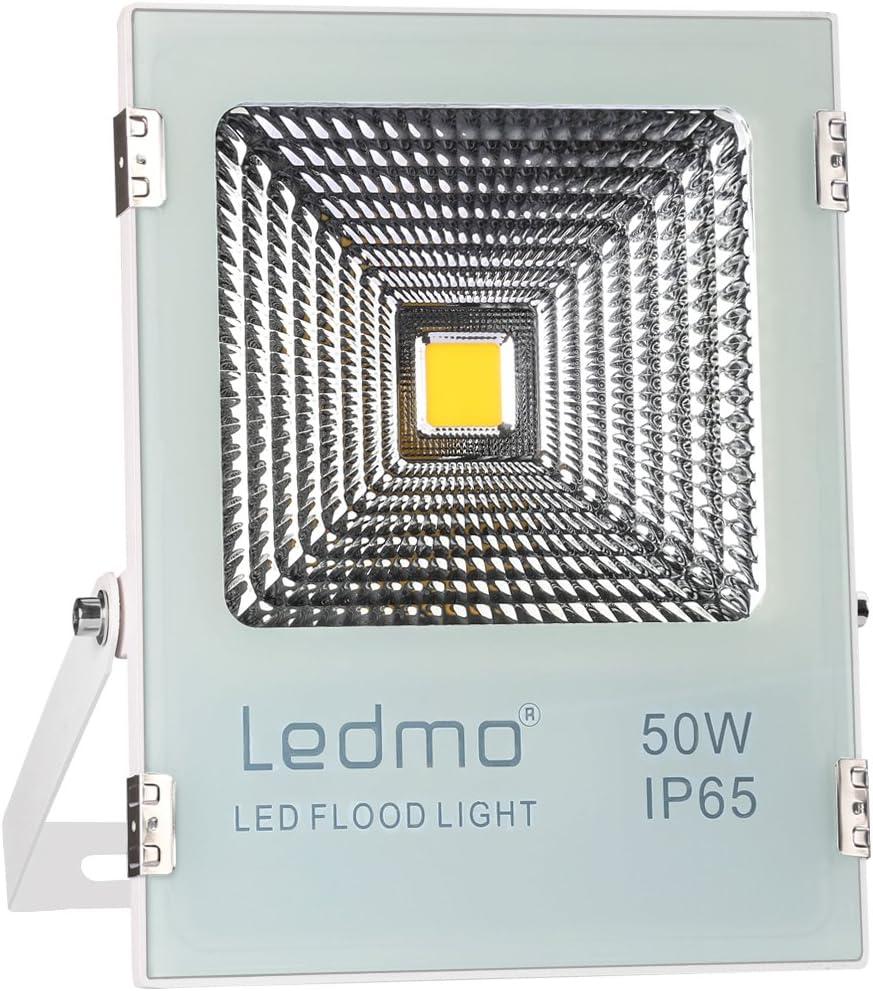 LEDMO 50W LED Flood Lights, Waterproof IP65 for outdoor, Daylight White, 6000K, 4000lm, 250W Halogen Equivalent, Security Lights, Floodlight