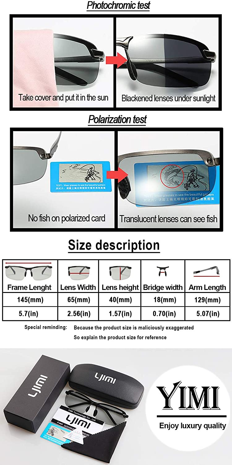 3d1e1a5479 Amazon.com  YIMI Polarized Sports Sunglasses Day and night Driving glasses   Anti-glare  UV Protection Driving Fishing Outdoor unisex Eyewear (Black ...