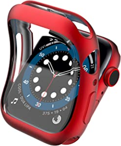 Wugongyan Case Compatible with Apple Watch Series SE/6/5/4 Screen Protector Matte Plating Soft TPU Full Screen Cover for Apple Watch Series 40mm 44mm (Red, 44mm)