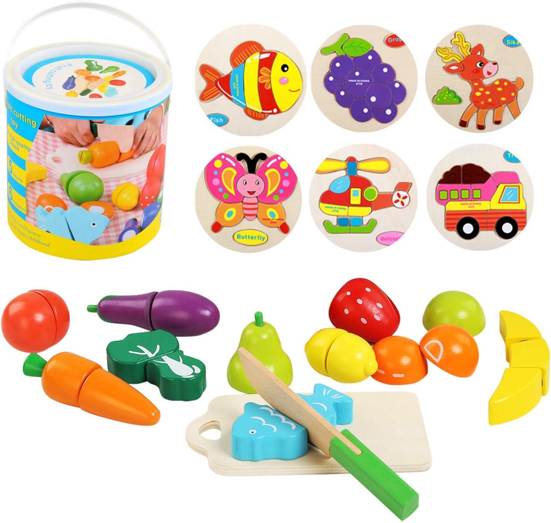 Ballery Alimentos de Juguete, Sin Toxico Frutas y Verduras Juguete Cortar Frutas Verduras Juguetes de Madera Montessori Temprano Desarrollo Educación Juegos para Niños de 3 o más años