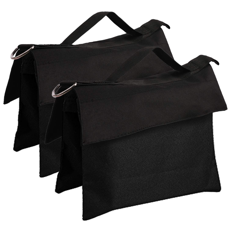 ABCCANOPY Sandbag Saddlebag Design 4 Weight Bags for Photo Video Studio Stand (Black-2pcs) by ABCCANOPY