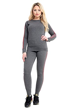 625a7f07dc57 Jansiramone Womens Ladies New Side Stripe Long Sleeve Top Bottoms Loungewear  Set Tracksuit Jogger Jogsuit: Amazon.co.uk: Clothing