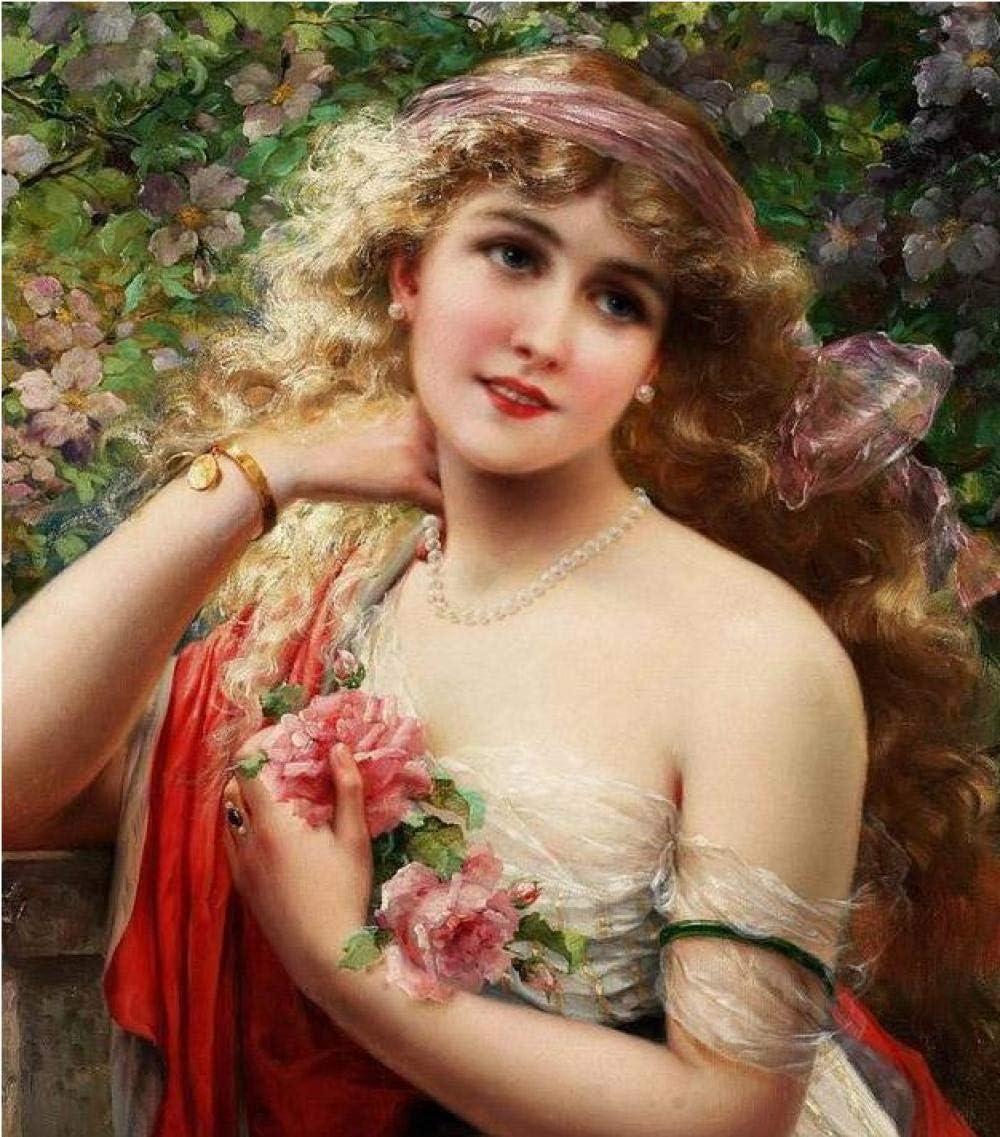 Pinturas de personajes diy pintura al óleo digital bellezas antiguas paisaje pintura al óleo con collar de perlas pulsera de oro regalo para decoración del hogar 40 * 50 cm
