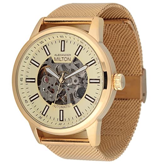 Alexander Milton reloj automático, acero inoxidable - MODELE Kronos - Dore/Milanaise: Amazon.es: Relojes