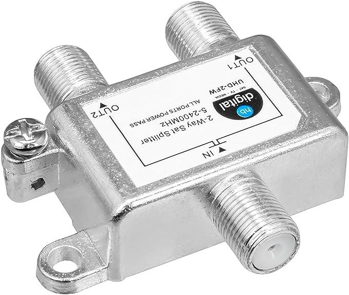 HB-DIGITAL SAT - BK - UKW - divisor de 2 vías 5-2400 MHz digital analógico - apto totalmente blindado con paso de tensión SAT DVB-S DVB-S2 FM TV por ...