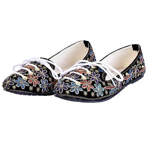 9180203033d Indian Handicrafts Export Women Fancy Multicolor Zari Work Floral Design  Ballerina Sandals