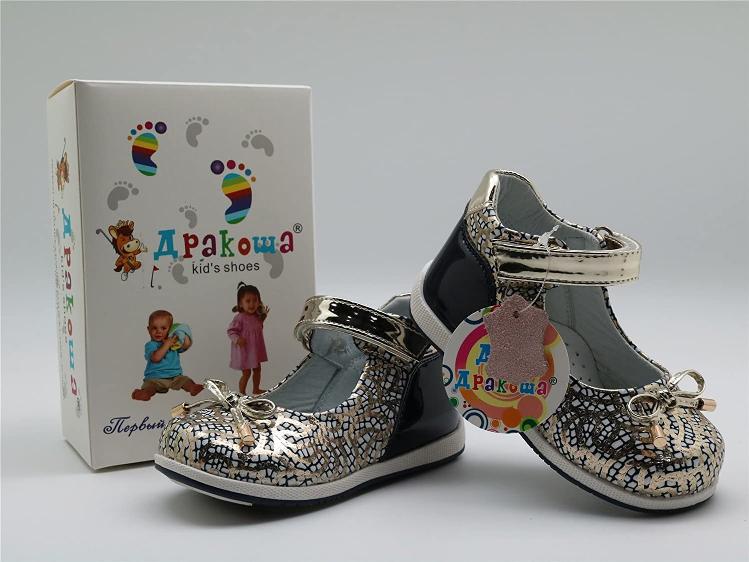 Apakowa Bowtie Toddler Girls Mary Jane Flat Sandals Shoe with Arch Support M15
