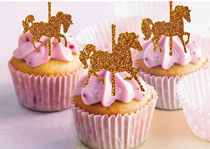 Amazon Carousel Horses Cupcake Toppers Glitter Girl Birthday Boy Topper First Party Handmade
