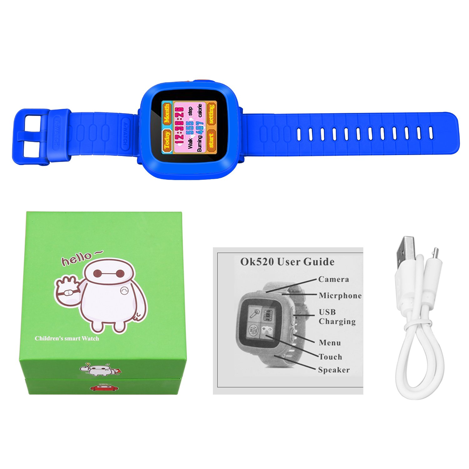 MIMLI Smart Watch for Kids Girls Boys,Smart Game Watch with Camera Touch Screen Pedometer,Kids Smart Watch Perfect Holiday Birthday Toys Gifts (Dark Blue) by MIMLI (Image #6)