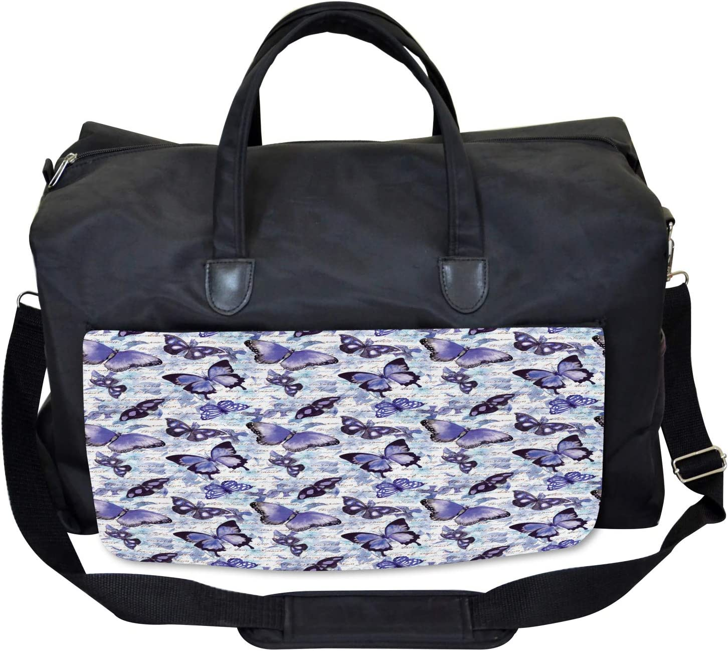 Old Flowers Butterfly Ambesonne Romance Gym Bag Large Weekender Carry-on