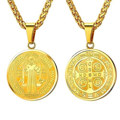 a0774f98d37 U7 Medal of Saint Benedict Necklace Men Women Religious Gift 18K Gold Plated  Chain Christian Sacramental