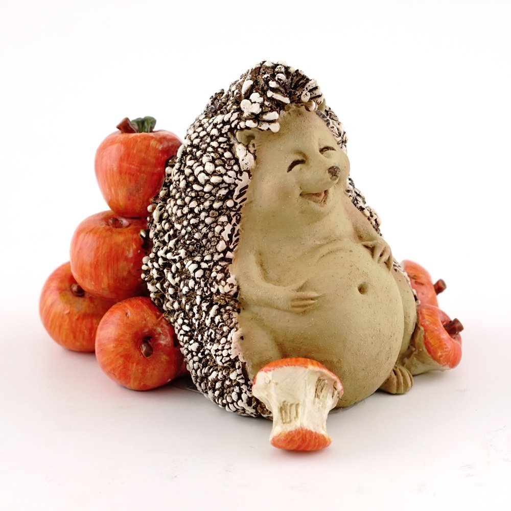 Top Collection Miniature Fairy Garden & Terrarium Hedgehog Food Coma from Eating Apples Statue, Small