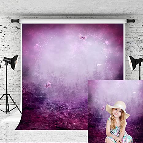 7x10 FT Purple Vinyl Photography Backdrop,Violet Tree Swirling Persian Lilac Blooms with Butterfly Ornamental Plant Graphic Background for Baby Birthday Party Wedding Graduation Home Decoration