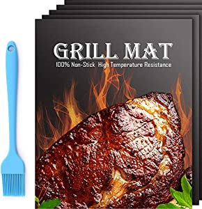 Bear home BBQ Grill Mat - 5 PCS Heavy Duty BBQ Grill Mats Non Stick, BBQ Grill Baking Mats - Reusable, (+ 1 BBQ Brush) Easy to Clean Barbecue Griling Accessories - Work on Gas Charcoal Electric