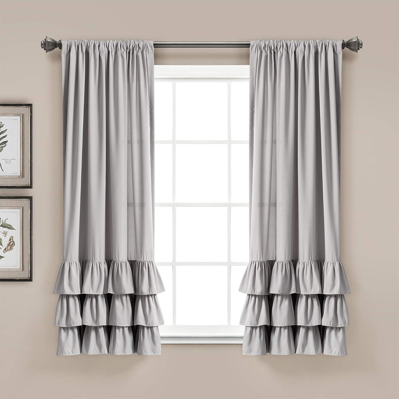Lush Decor, Light Gray Allison Ruffle Curtains Window Panel Set for Living, Dining Room, Bedroom (Pair), 63