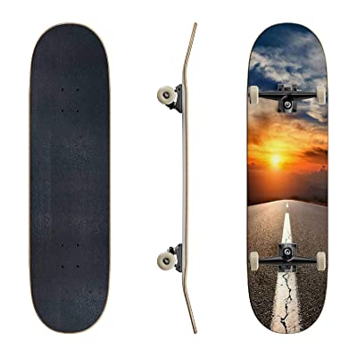 EFTOWEL Skateboards Driving on an Empty Asphalt Highway to The Mountains Asphalt Road Classic Concave Skateboard Cool Stuff Teen Gifts Longboard Extreme Sports for Beginners and Professionals : Sports & Outdoors